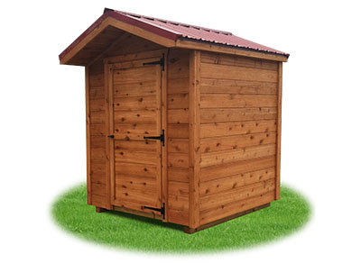 6x6 Cedar Sided Front Entry Peak Storage Shed available at Pine Creek Structures