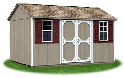 10x14 Vinyl Sided Side Entry Peak Storage Shed available at Pine Creek Structures
