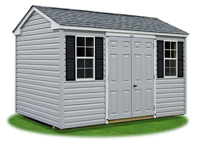 8x12 Vinyl Sided Side Entry Peak Storage Shed available at Pine Creek Structures