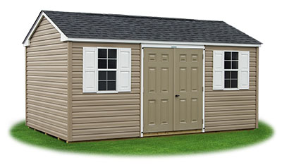 10x16 Vinyl Sided Side Entry Peak Storage Shed available at Pine Creek Structures