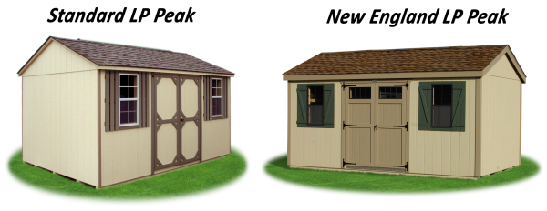standard and new england style LP wood sided peak storage shed comparison