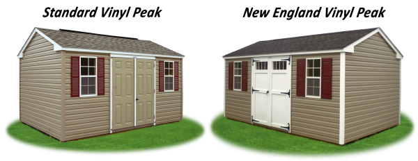 standard and new england style vinyl peak storage shed comparison
