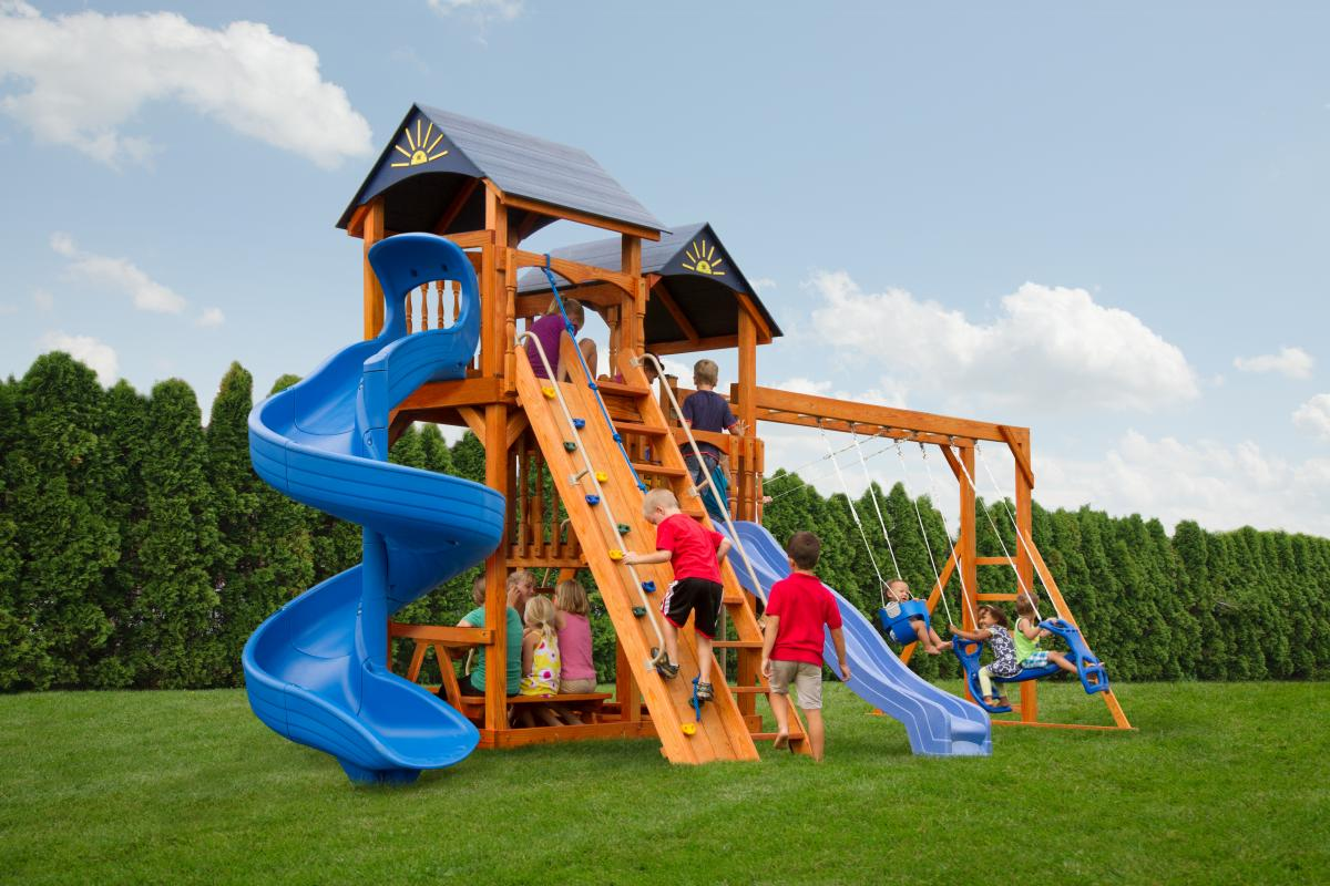 Handcrafted swing sets playsets pine creek structures for Waterfall swing set