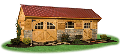 12x24 Providence Carriage House Style Storage Shed with Cedar Siding