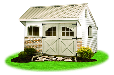 10 x 12 Providence Carriage House Style Storage Shed with vinyl siding