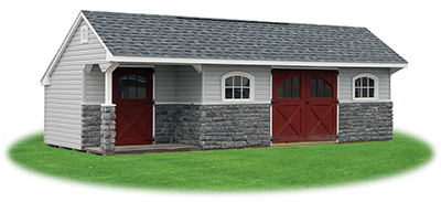 Customized 10x20 Providence Carriage House Style Storage Shed with vinyl siding