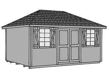 Pine Creek Structures hip style storage shed