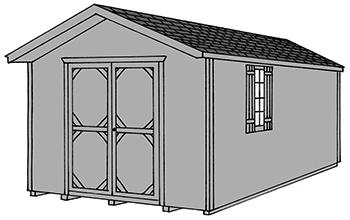 Pine Creek Structures front entry peak style storage shed