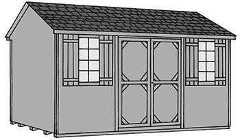 Pine Creek Structures side entry peak style storage shed