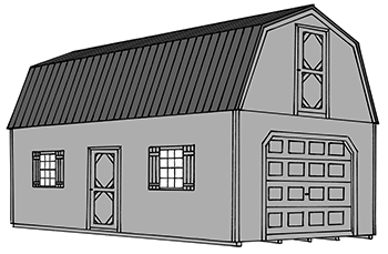 Pine Creek Structures two story garage drawing