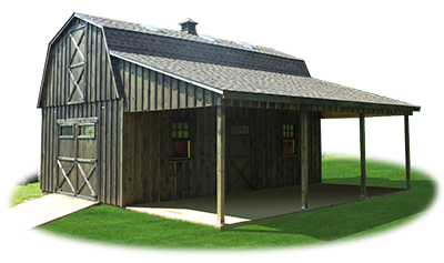 Customized Two Story Gambrel Barn Storage Shed from Pine Creek Structures