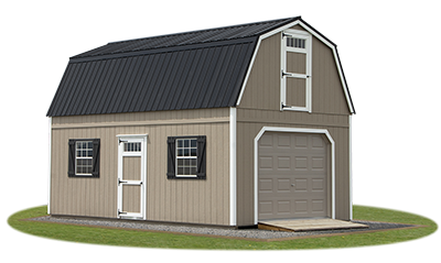 New England Style Two Story Garage with Gambrel Roof from Pine Creek Structures