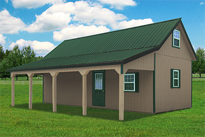 Custom Two Story Gambrel Barn with Porch and Cape Cod Style Roof from Pine Creek Structures