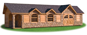 Custom designed victorian style storage shed with cedar siding and stone veneer and carriage house double doors and porch