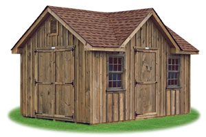 deluxe victorian style storage shed with rustic board and batten siding