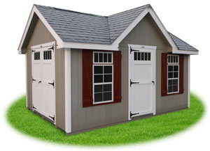 deluxe style victorian ready made storage shed with lp smart side siding and new england style features including wider trim, z shutters, and transom windows