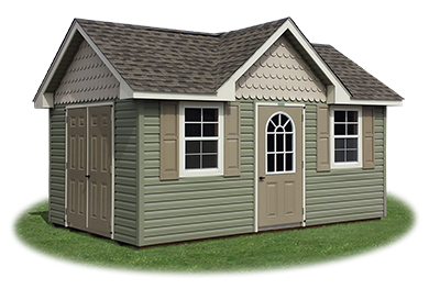 Customized victorian deluxe storage shed with vinyl siding built by Pine Creek Structures