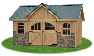 Customized victorian deluxe storage shed with board and batten siding built by Pine Creek Structures