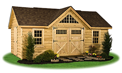 Customized victorian deluxe storage shed with log siding built by Pine Creek Structures
