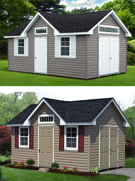 vinyl sided victorian deluxe storage sheds from Pine Creek Structures