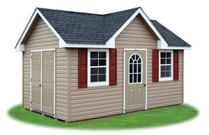 deluxe style victorian ready made storage shed with lifetime vinyl siding