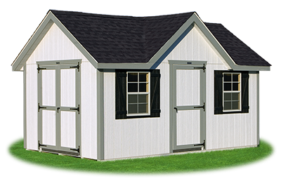 victorian deluxe storage shed with LP smart side siding built by Pine Creek Structures