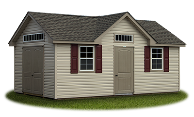 victorian deluxe storage shed featuring colonial archtop fiberglass doors built by Pine Creek Structures