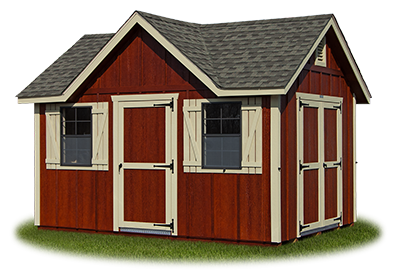 victorian deluxe storage shed with LP board and batten siding built by Pine Creek Structures