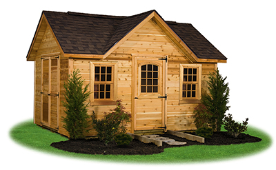 victorian deluxe storage shed with cedar siding built by Pine Creek Structures