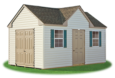 standard victorian storage shed with vinyl siding built by Pine Creek Structures