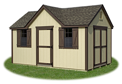 standard victorian storage shed with LP smart side siding built by Pine Creek Structures