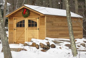 front entry rustic siding peak shed 1