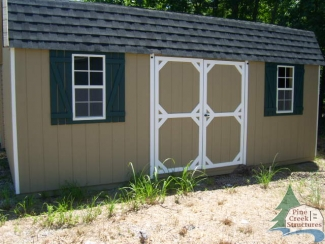 Pine Creek 12x20 Dutch Barn with white trim and green shutters