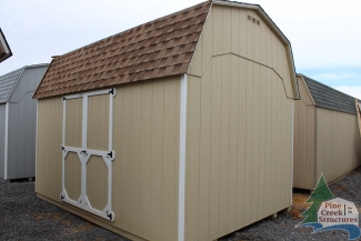10x14 Madison Dutch Barn with Beige walls, White trim, and Shakewood shingles