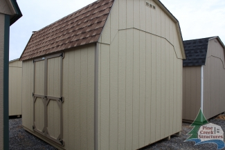 10x12 Madison Dutch Barn with Beige walls, Buckskin trim, and Shakewood shingles