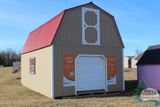 14x24 Two Story Barn with Buckskin walls, White trim, and Red metal roof