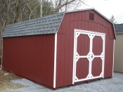Moore Country Pine Creek 12x16 Red Highwall Barn with white Trim