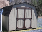 Moore Country Pine Creek 10x12 Buckskin Madison Mini Barn With Dark Brown Trim