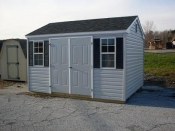 10x12 Vinyl Side Entry Peak Storage Shed