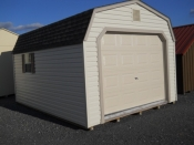12x16 Vinyl Dutch one car Garage with clay trim and red shutters