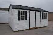 prefab vinyl sided Side Entry Peak Storage Shed with double doors and 2 windows