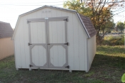 10X14 Madison Mini Barn Shed with Beige walls, Buckskin trim, Shakewood shingles