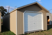 14X40 Peak Garage Shed with Beige walls, White trim, and Charcoal shingles