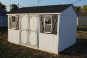 10X14 Peak Side Entry Shed with White walls, Lt. Grey trim, and Charcaol shingle