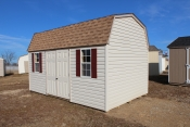 10X16 Dutch Vinyl Shed with sand walls, clay trim, shakewood shingles