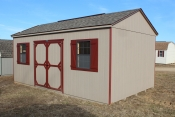 12X20 Peak Side Entry Shed with buckskin walls, red trim, weather wood shingles