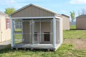 8X8 Dog Kennel with Buclskin walls, White trim and Shakewood shingles