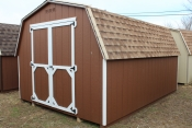 10x14 Madison Mini Barn Shed with Chestnut walls, White trim, Shakewood shingles