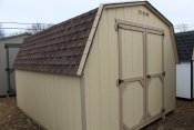 10x12 Madison Mini Barn Shed with Beige walls, Buckskin trim, Barkwood shingles