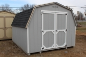 10x12 Madison Mini Barn with Lt. Grey walls, White trim, and Charcoal shingles